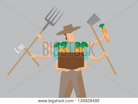 Vector illustration of busy farmer cartoon character with multiple arms holding different work tools isolated on plain grey background.