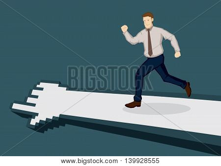 Cartoon business executive running in the direction indicated by pixelated digital hand. Vector illustration for technology and business concept isolated on green background.