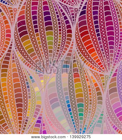 Abstract color wave background of doodle hand drawn lines. Colorful floral pattern.