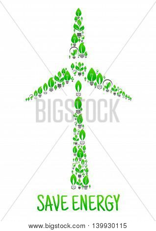 Save Energy conceptual ecology art illustration. Green leaves and lamps in shape of wind turbine. Creative eco environment illustration. Natural energy source element. Vector icon of electricity mill
