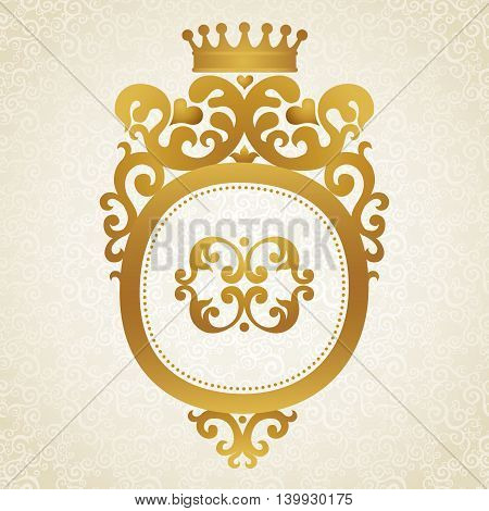 Coat of arms on light seamless background. Vector baroque frame in Victorian style. Element for design. It can be used for decorating of wedding invitations cards decoration for bags and clothes.