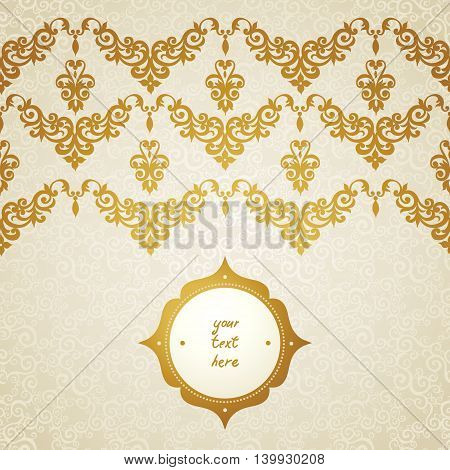 Vector seamless border in Victorian style. Element for design. You can place the text in an empty frame. It can be used for decorating of invitations greeting cards decoration for bags and clothes.