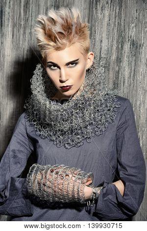 Avant-garde fashion clothing collection. Punk Style. Futurism. Studio shot.