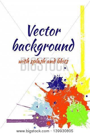 Vector Card With Splash, Blots And Brush, Graphic Illustration