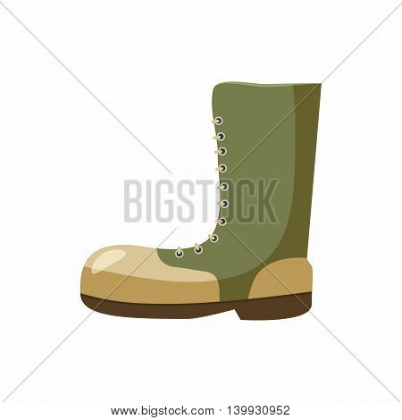 Army boots icon in cartoon style isolated on white background. Equipment symbol