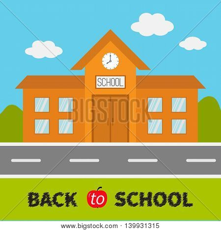 School building with clock and windows. City construction. Road sky cloud. Education clipart collection. Back to school. Flat design. Cartoon background. Vector illustration