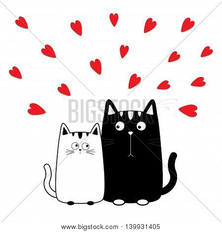 Cute cartoon black white cat boy and girl. Kitty couple on date. Big mustache whisker. Funny character set. Happy family. Love greeting card. Flat design. Heart background Isolated Vector illustration