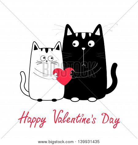 Happy Valentines Day. Cute cartoon black white cat boy and girl family holding red heart. Kitty couple on date. Funny character set. Love greeting card. Flat design. Isolated. Vector illustration