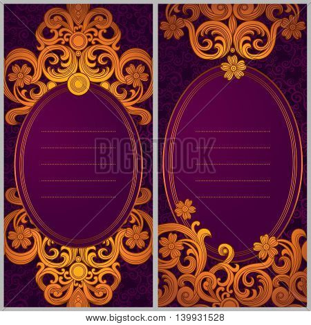Vintage greeting cards with swirls and floral motifs in retro style. Template frame design for card. Golden vector border in Victorian style. You can place your text in the empty frame.