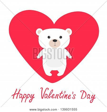 Arctic polar bear cub. Cute cartoon character. Happy Valentines Day. Love card with big red heart. Flat design. White background. Isolated. Vector illustration