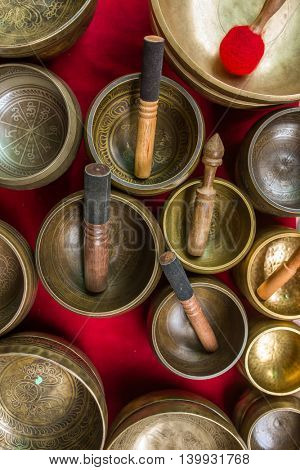 Singing Bowls (Cup of life) - popular souvenier in Nepal, Tibet and India. View from the top