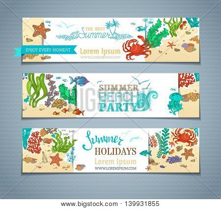 Vector Set Of Colourful Sea Life Horizontal Banners.