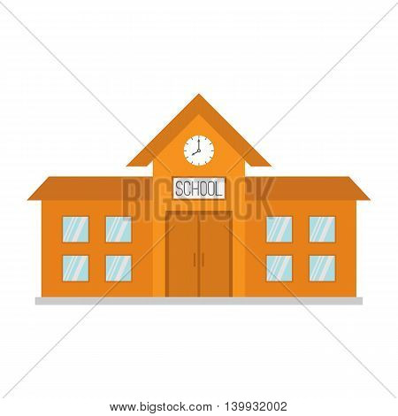 School building with clock and windows. City construction. Cartoon education clipart collection. Back to school. Flat design. White background. Isolated. Vector illustration