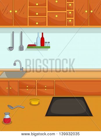 beauty of kitchen cartoon for you design