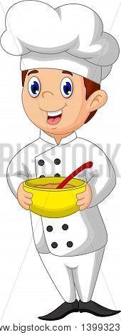 funny chef cartoon bring a yellow bowl