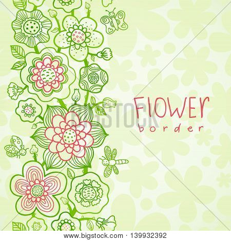 Card with outline floral seamless border with butterfly dragonfly and ladybug. Place for your text. It can be used for decorating of wedding invitations cards and decoration for bags and clothes.