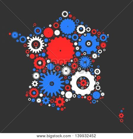 France map silhouette mosaic of cogs and gears. Illustration in national colors on dark grey background.