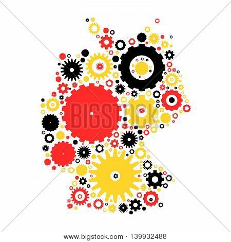 Germany map silhouette mosaic of cogs and gears. Illustration in national colors on dark grey background.