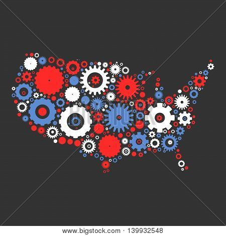 United States od America map silhouette mosaic of cogs and gears. Illustration in national colors on dark grey background.