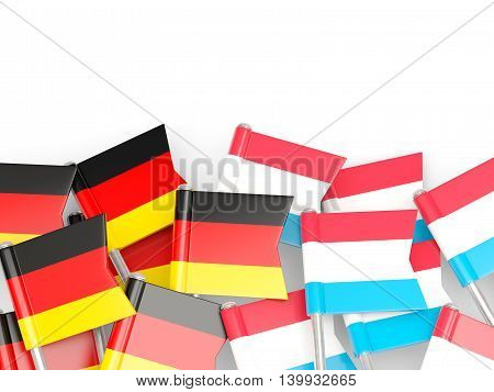 Flags Of Germany And Luxembourg  Isolated On White