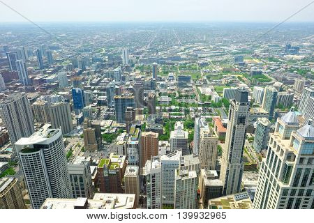 Chicago skyline aerial view. No brand names or copyright objects.