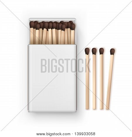 Vector Opened Blank Box Of Brown Matches Top View Isolated on White Background