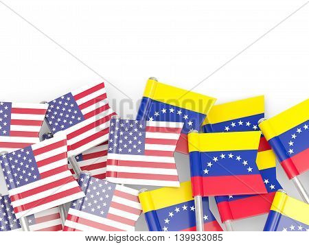Flags Of Usa And Venezuela  Isolated On White
