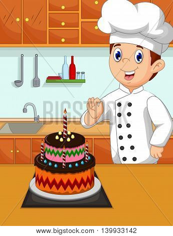 funny chef cartoon with her made cake