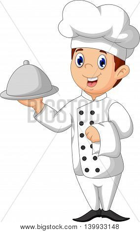 cute chef cartoon holding food for you design