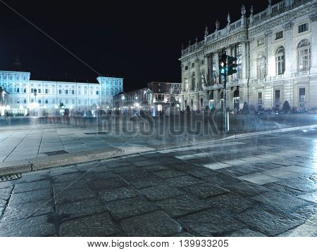 Turin streets in the night with long exposure