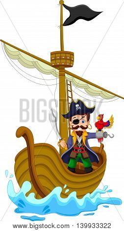 funny pirate cartoon above ship and his parrot