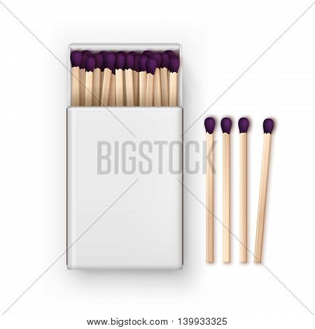 Vector Opened Blank Box Of Purple Matches Top View Isolated on White Background