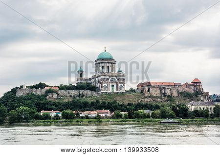 Beautiful basilica in Esztergom Hungary. Cultural heritage. Travel destination. Largest building. Place of worship. Religious architecture.