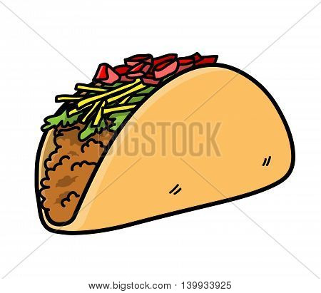 Taco Mexican Food. A hand drawn vector icon illustration of a taco.