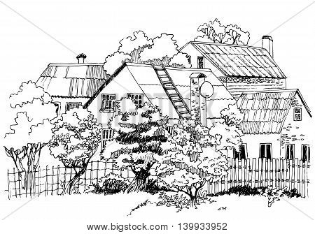 Hand-drawn vector line black and white rural landscape sketch