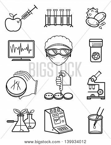 Vector simplicity science and genetic laboratory icons set. Medical collection blood and stem cells microscopic and computer research scientist in mask and safety glasses GMO foods and plants