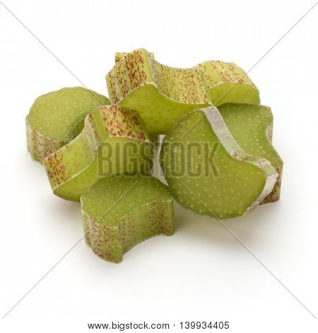 Chopped rhubarb stem isolated on white background cutout