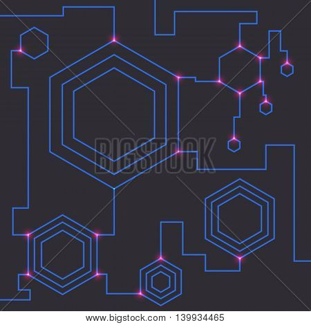 Technology theme background with hexagonal elements. Vector illustration