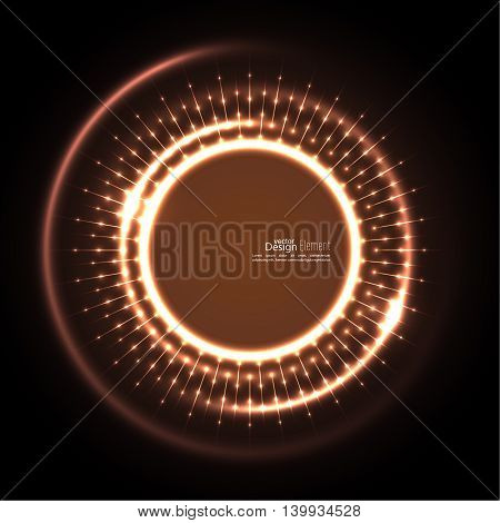 Abstract techno background with spirals and rays with glowing particles. Tech design. Lights vector frame. Glowing dots.  brown, beige, bronze, sepia, chocolate