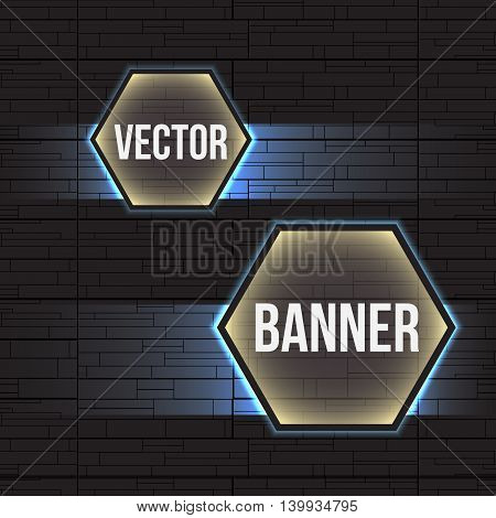 Hi-tech geometric dark gray and blue background with hexagons banners. Vector design