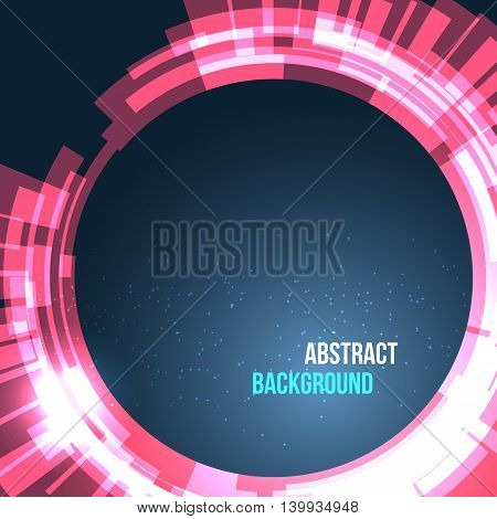 Abstract space background circles red with lights. Vector illustration for your business presentations.