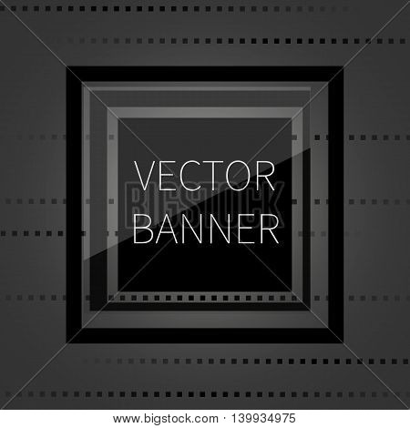 Black glossy banner on dark background, with glass elements, vector illustration