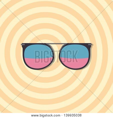 Sunglasses with blue and violet glasses on yellow circles background, vector illustration