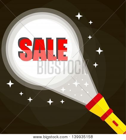 Flashlight and sale sign. Midnight hot sale. vector illustration in flat style on dark background
