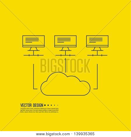 Abstract background with a network server. Storage of digital information. The database is on a remote computer. Cloud connected in network lan.