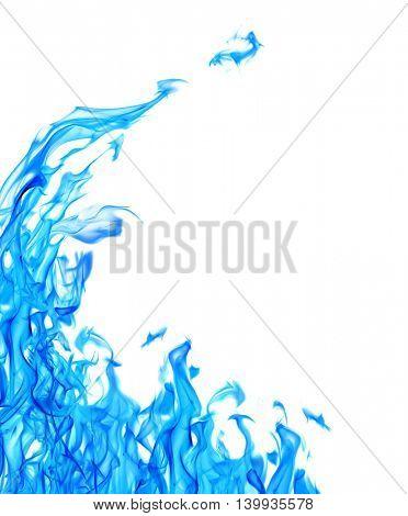 blue flame corner isolated on white background