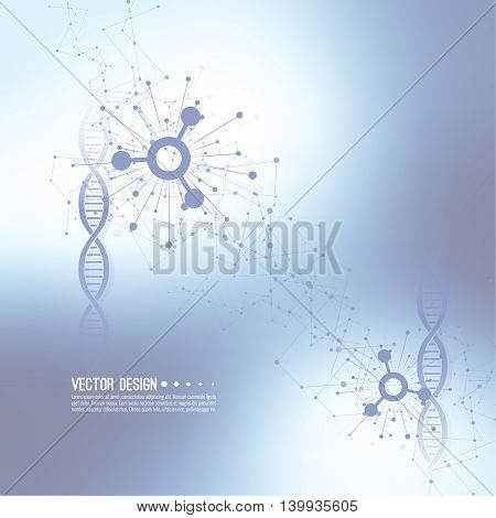 Array with dynamic moving particles. Node molecule structure. Science and connection concept. Techno Research, brain cells, neurons. Vector abstract background. DNA strand, helix, spiral