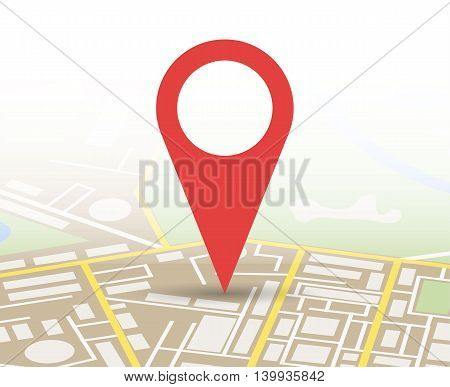 Abstract generic city map with roads, buildings, parks, river. City Map With red Marker pin, Vector illustration in flat design