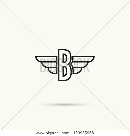 Elegant dynamic alphabet letters with wings. Monogram wing logo mockup. Creative design element. Corporate branding identity. Vector template. Letter b