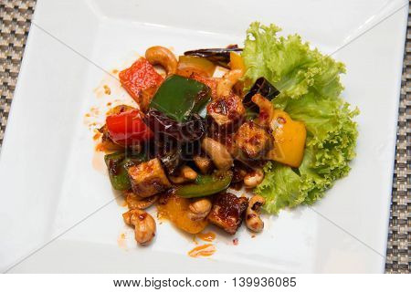 Thai Stir Fry spices Tofu with Cashew Nuts and pepper